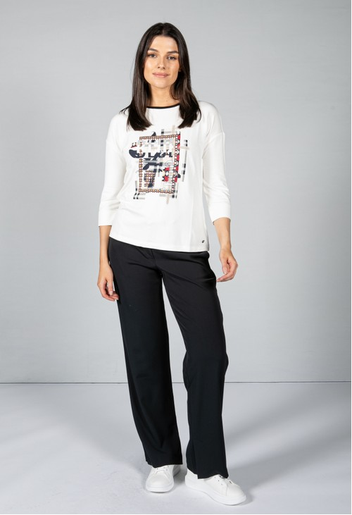 Basler Abstract Print Top in Off-White