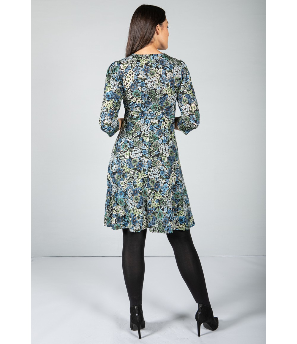 Sophie B Floral Wrap Dress with Metallic Detail