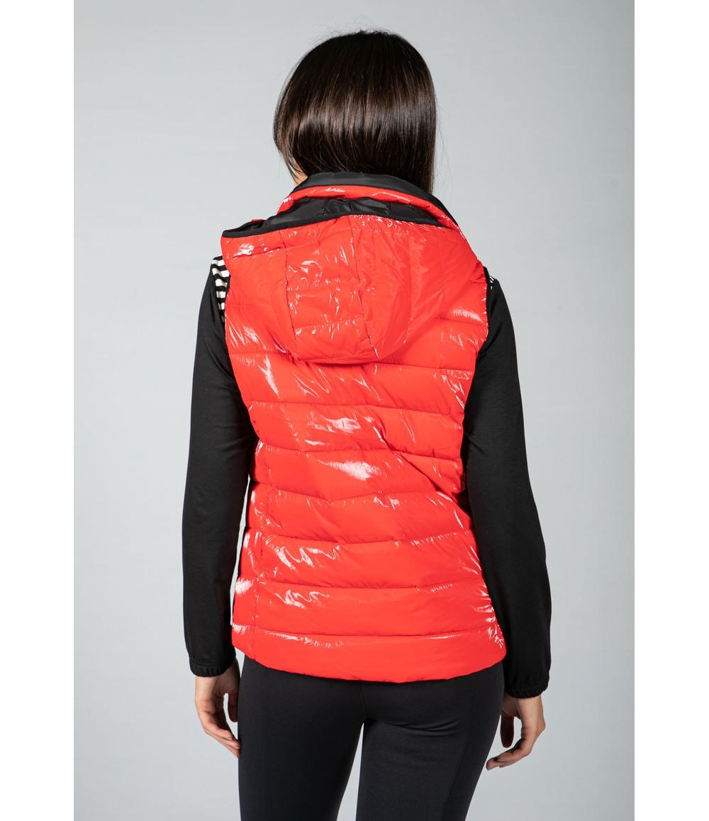 Tuzzi Red Metallic Faux Down Vest