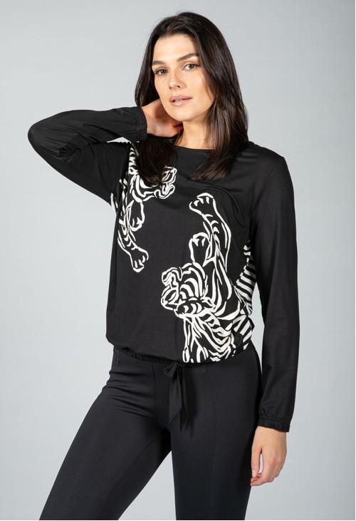 Tuzzi Leopard Detail Long Sleeve Top