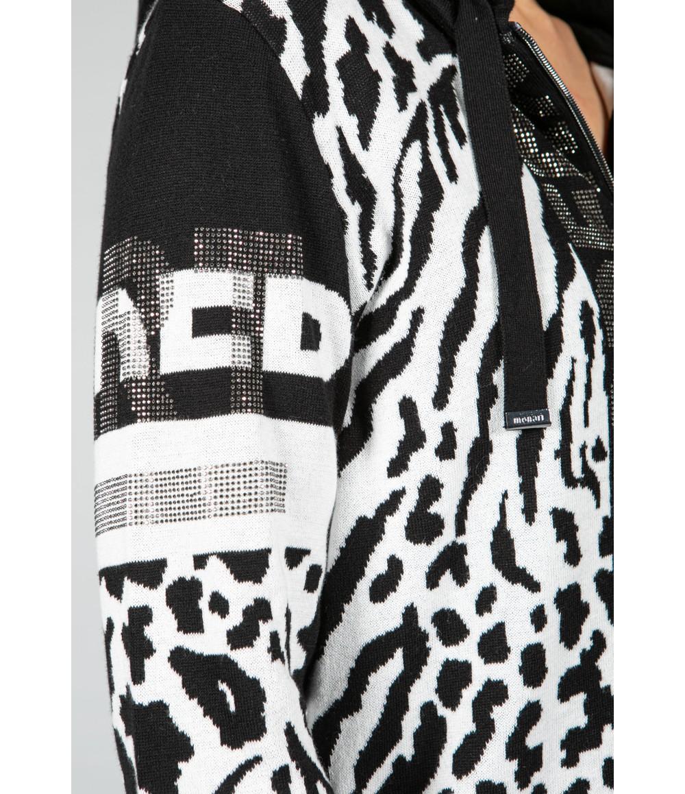 Monari Modern Art Zip Up Cardigan