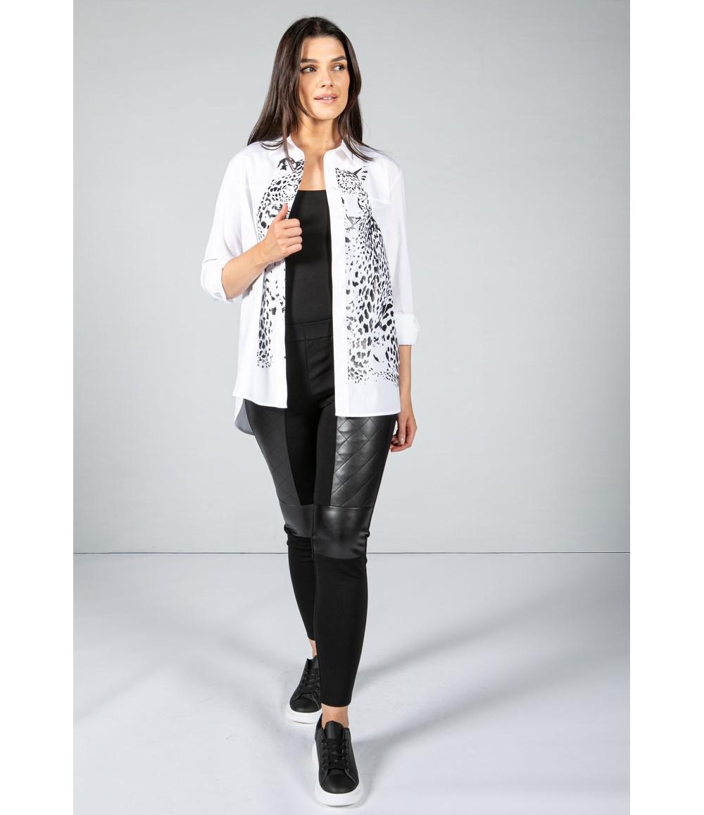 Tuzzi Animal Printed White Shirt