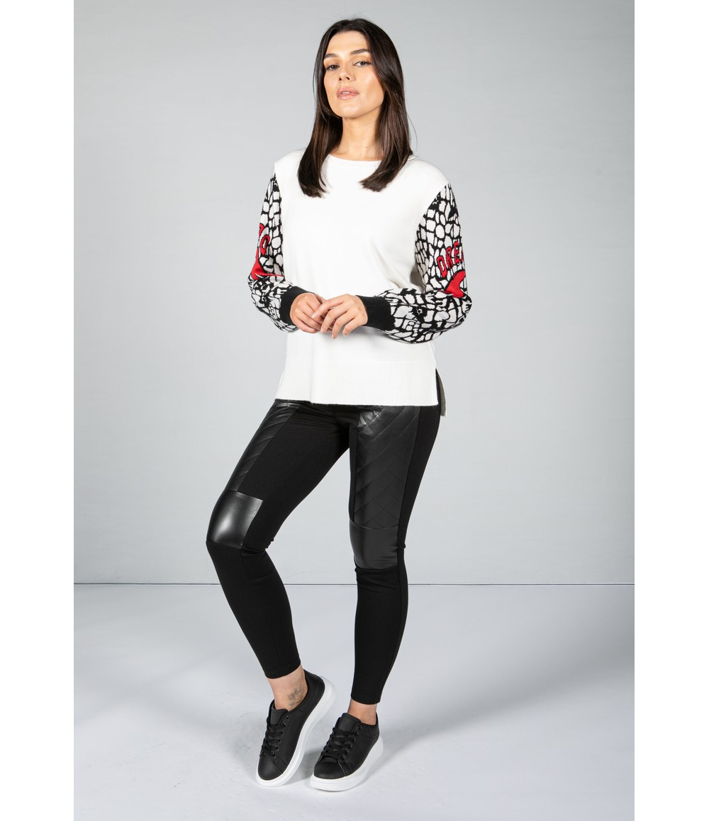 Tuzzi Long Sleeve Knit with Graphic Sleeves