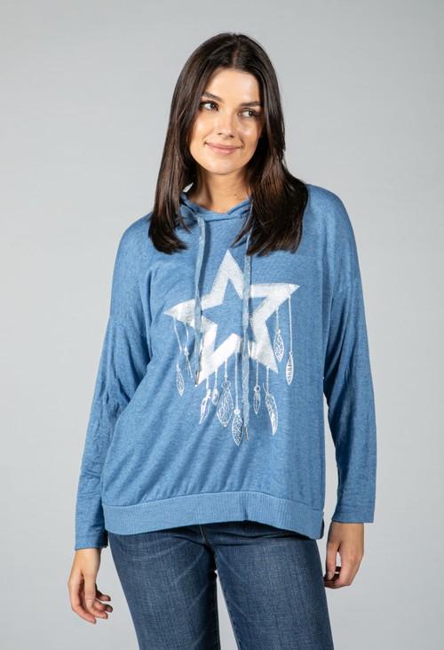 Pamela Scott Soft Touch blue star hoodie