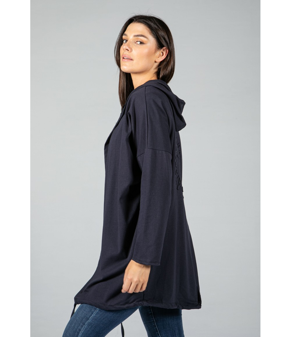 Zapara Hooded Open Cardigan in Navy