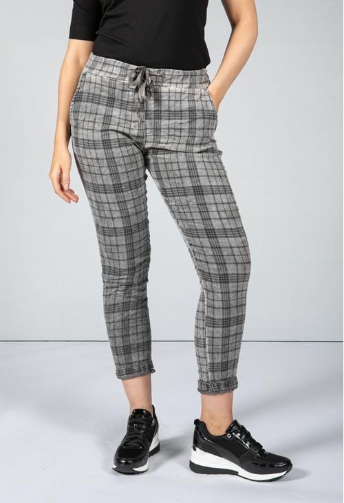 Zapara Charcoal Grey Check Trousers