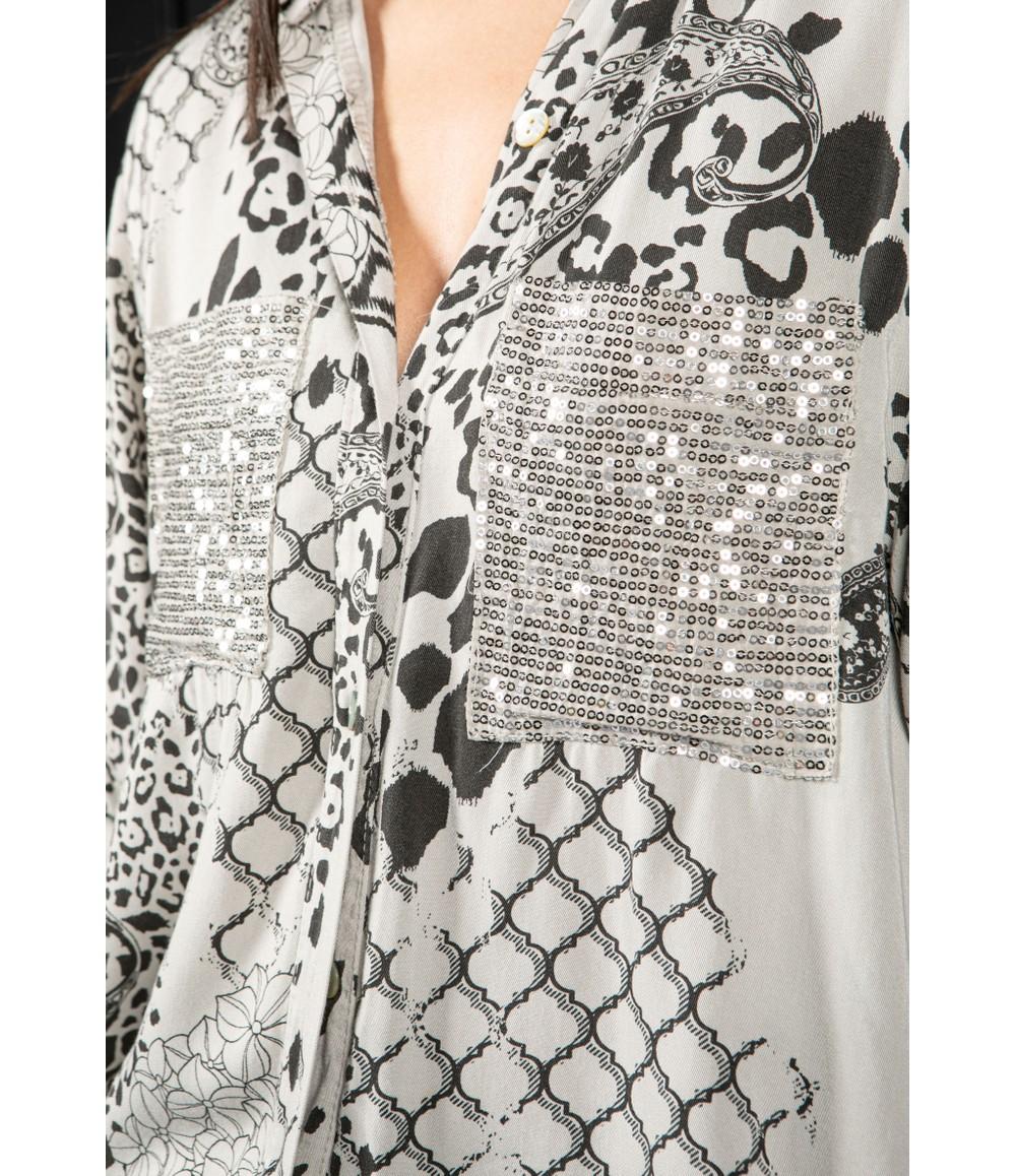Zapara casual printed shirt in grey