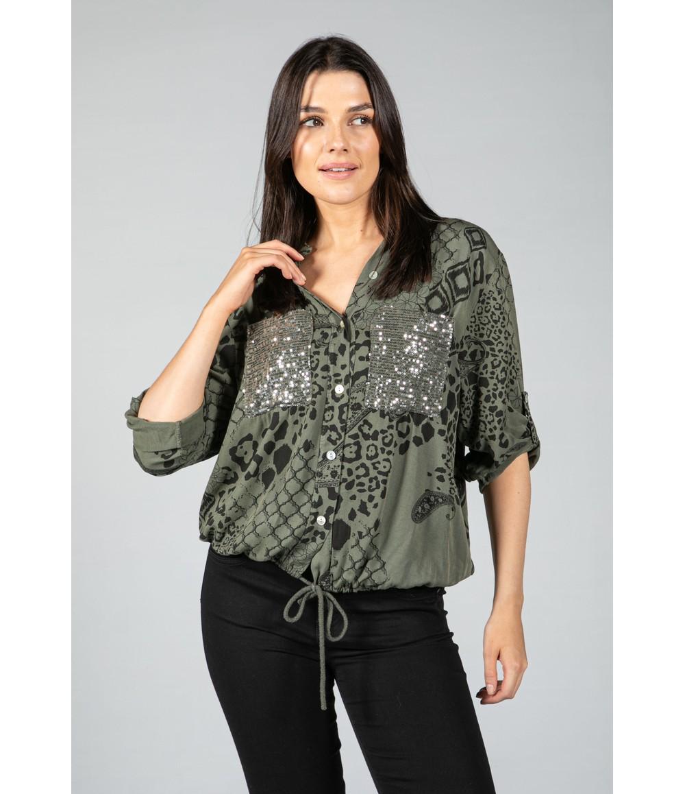 Zapara casual printed shirt in green