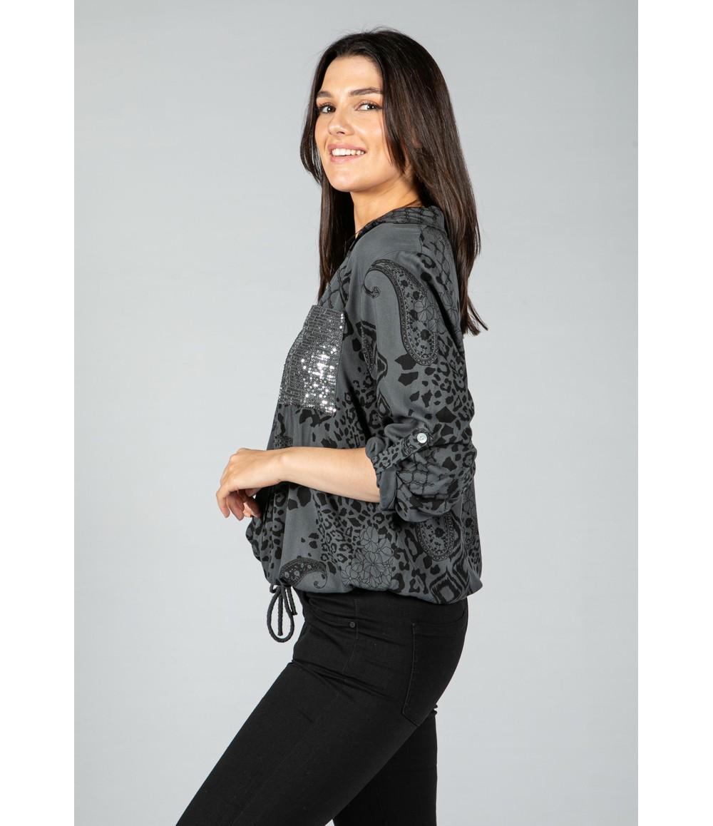 Zapara casual printed shirt in charcoal