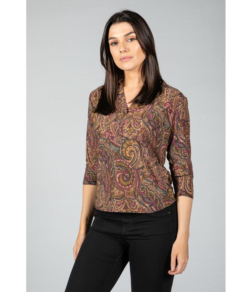 Sophie B Paisley V neck blouse in Wine