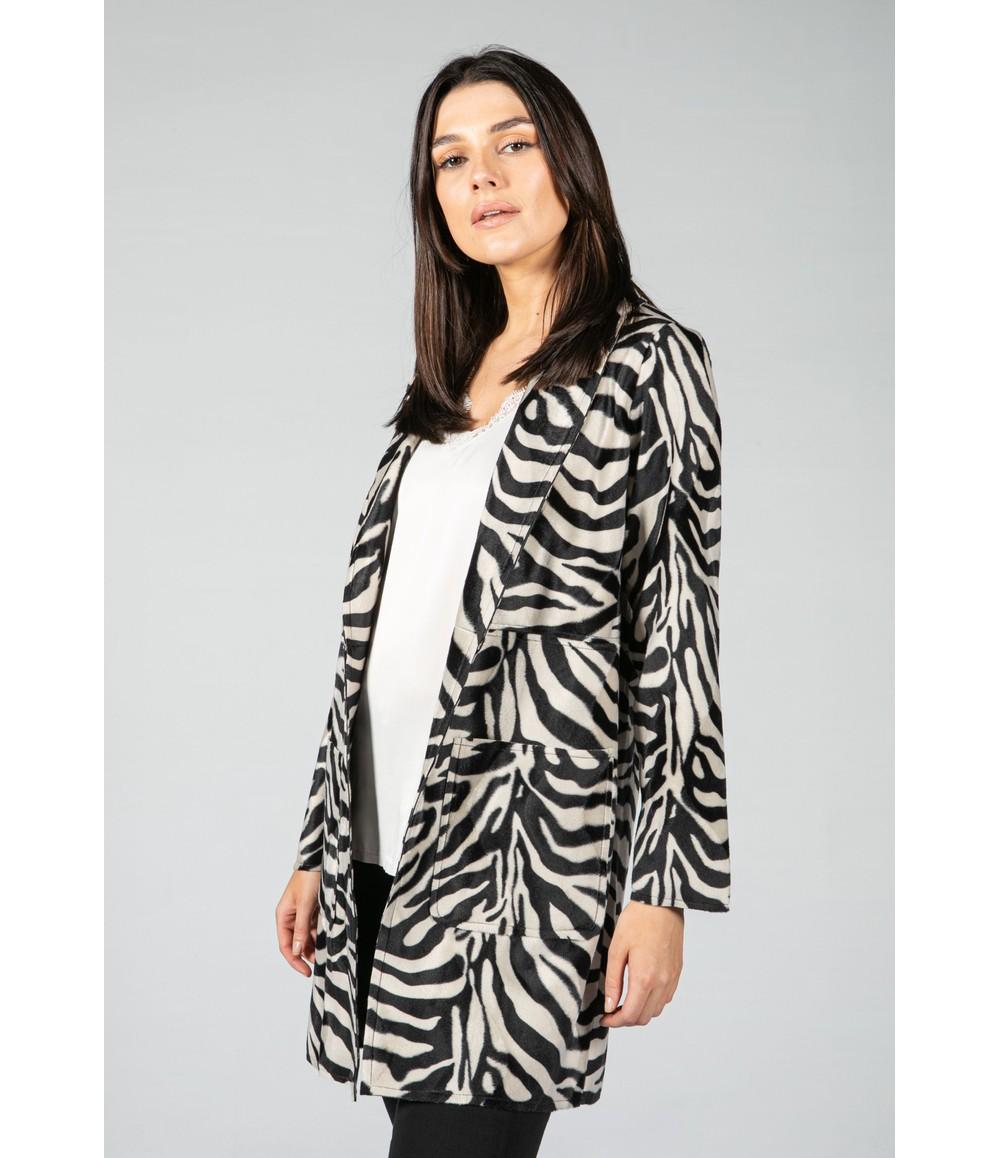 Sophie B Faux Zebra Print Open midi Jacket