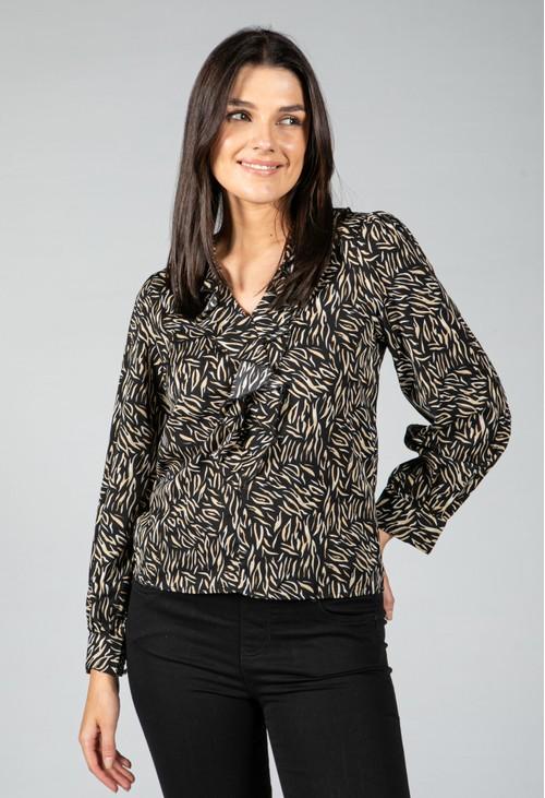 Pamela Scott Animal Printed Ruffle Blouse