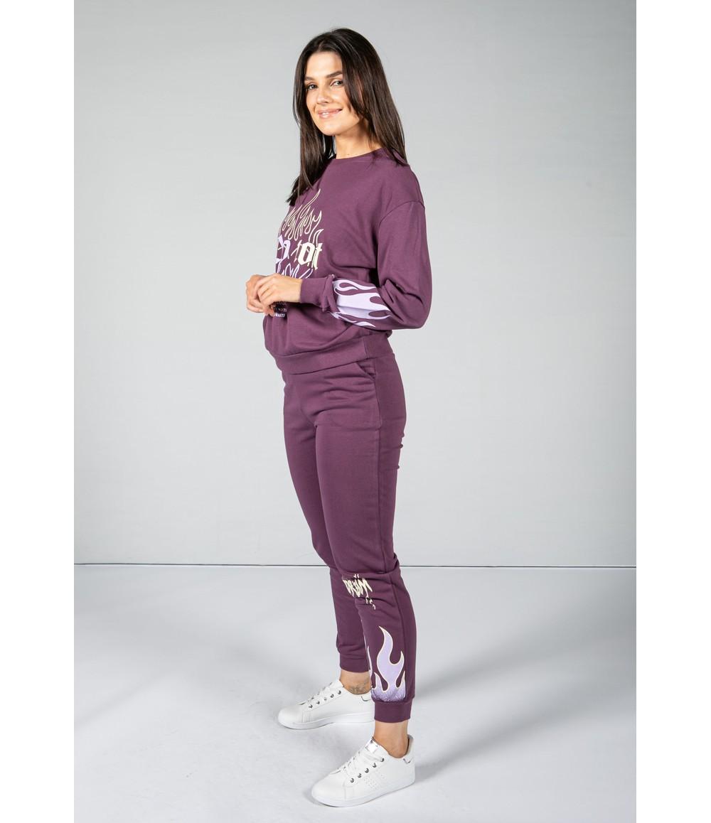 Pamela Scott flame decal jogger set in purple