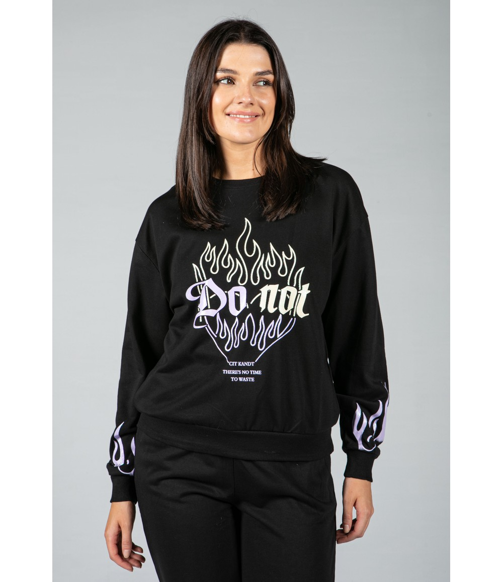Pamela Scott flame decal jogger set in black