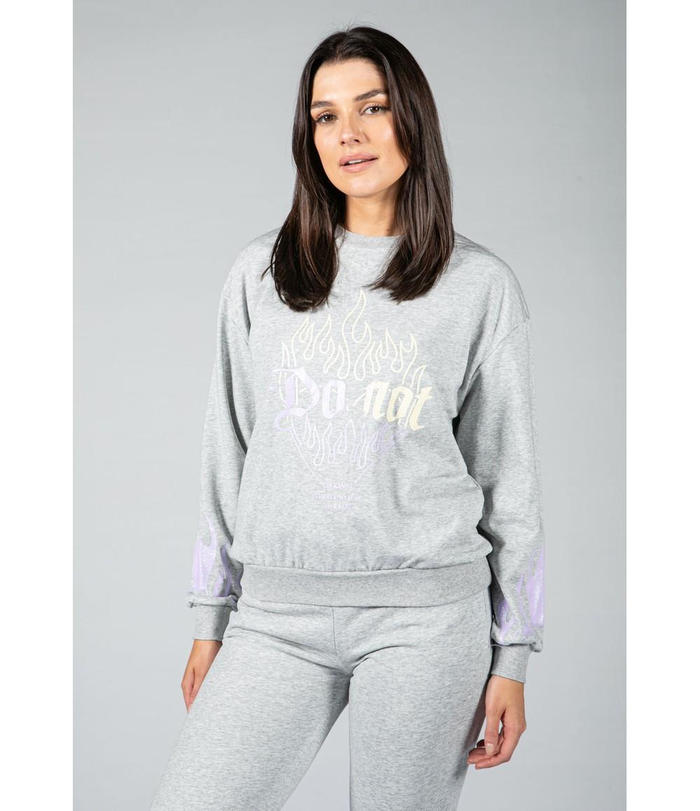Pamela Scott flame decal jogger set in grey