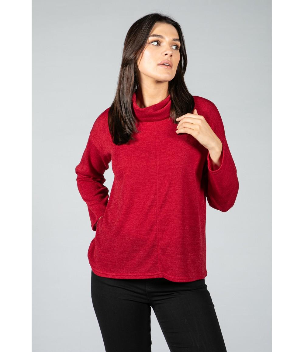 Zapara Roll neck knit jumper in wine