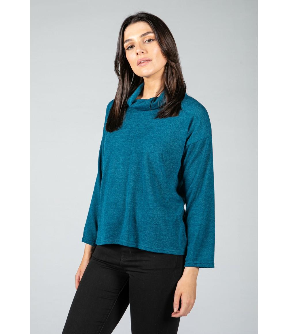 Zapara roll neck knit jumper in teal