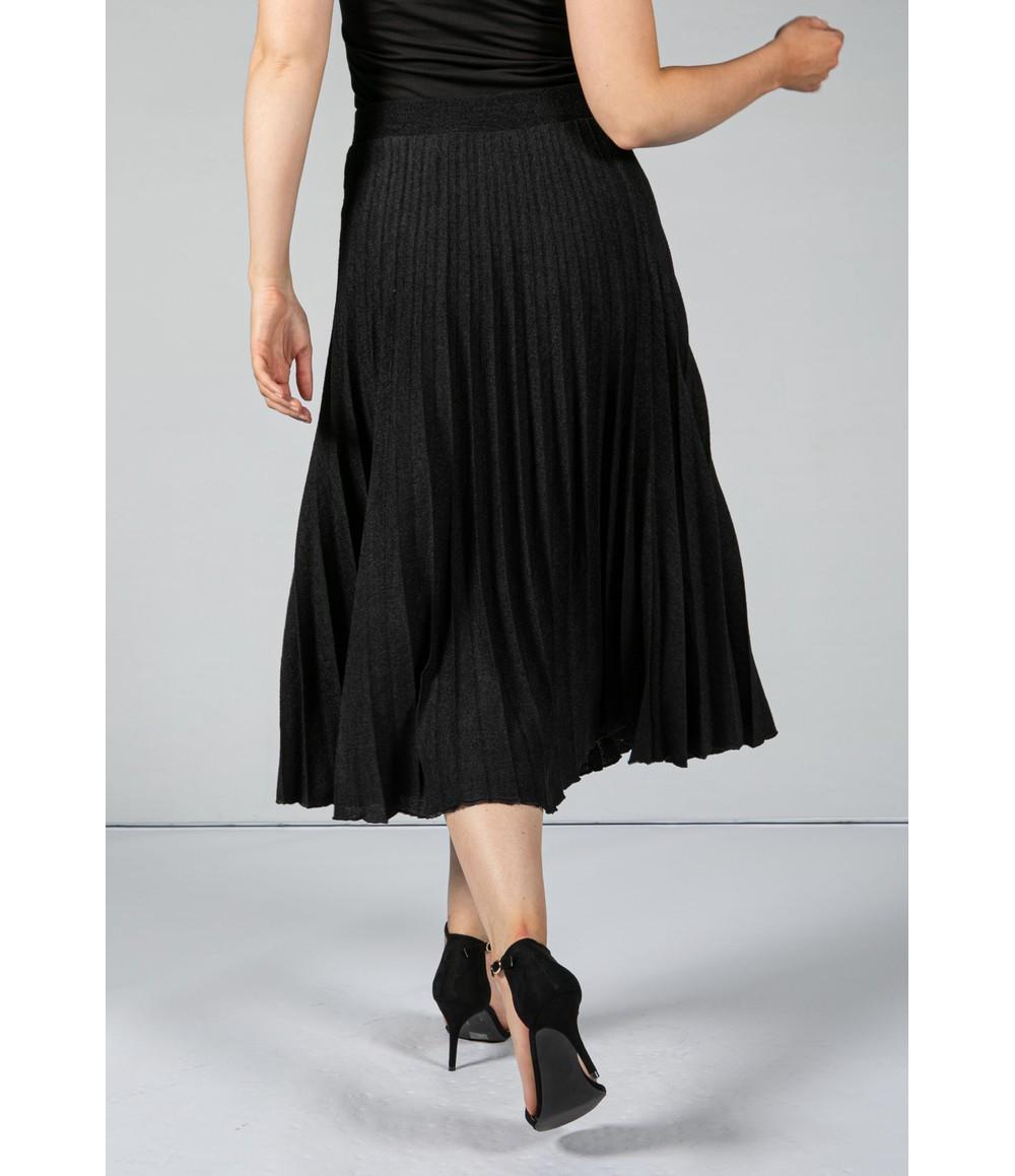 Zapara Long Pleated Skirt in Black