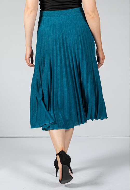 Zapara Long Pleated Skirt in Teal