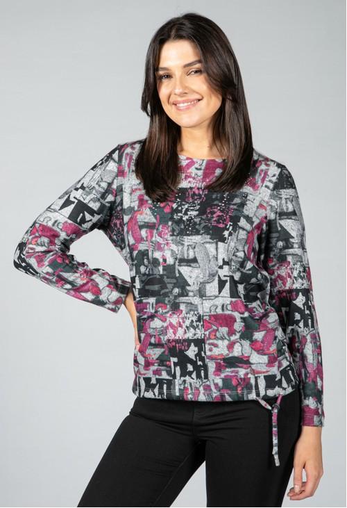 Pamela Scott Abstract print long sleeve top
