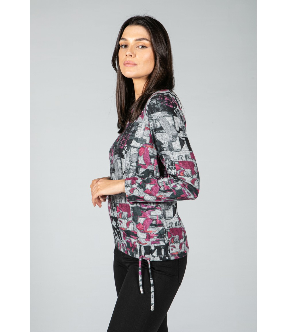 Sophie B Abstract print long sleeve top