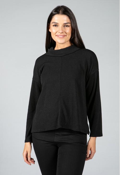 Zapara roll neck knit jumper in black