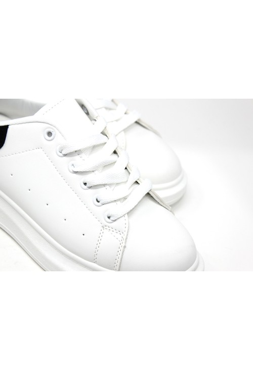 Shoe Lounge Lace Up Trainer In White with Black Heel