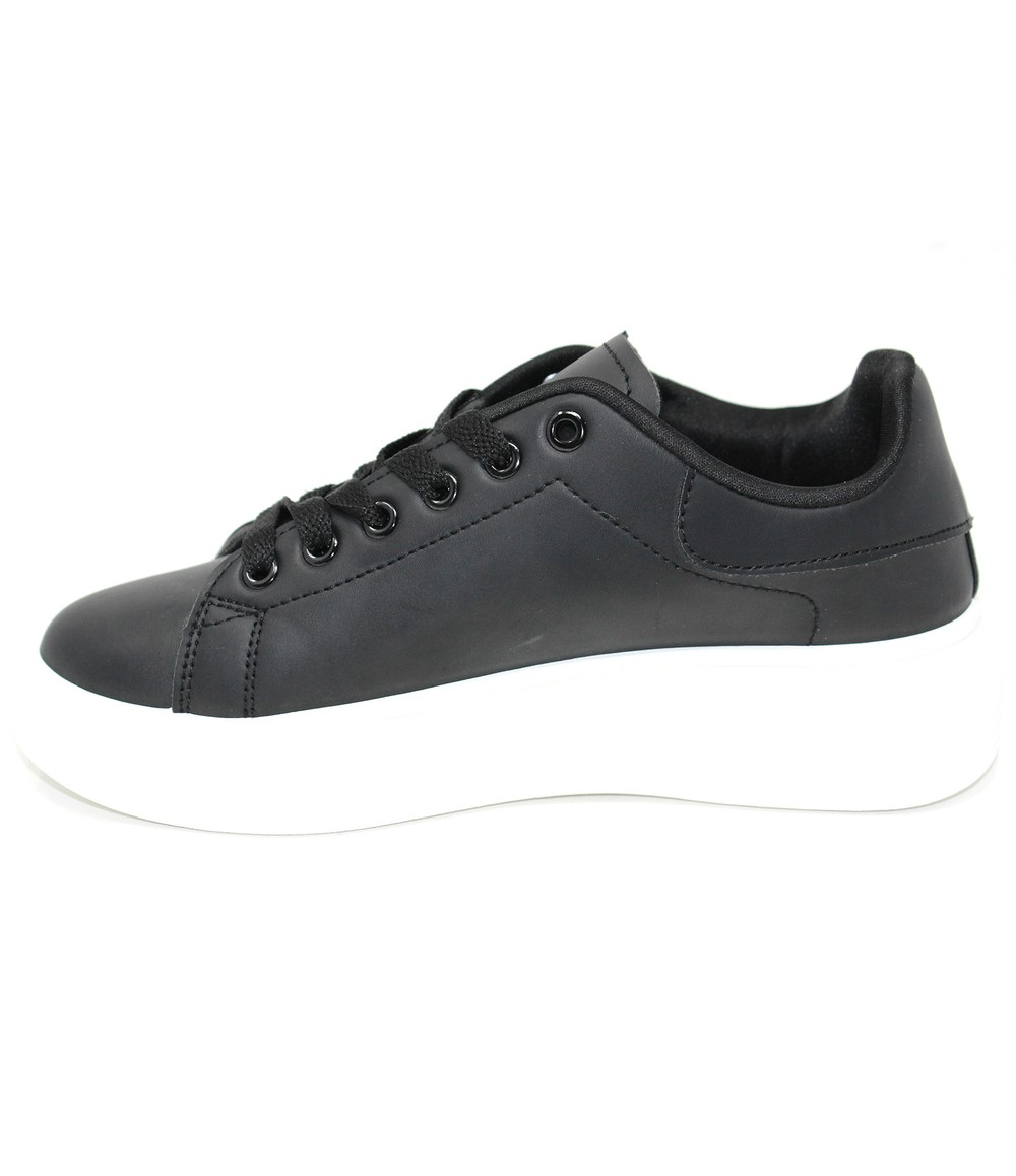 Shoe Lounge Lace Up Trainer in Black with White Sole