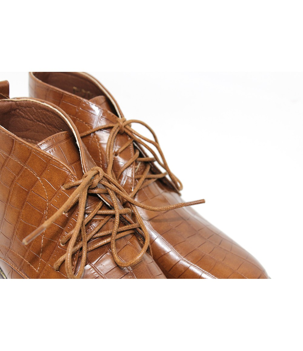 Croc Print Desert Boot in Camel