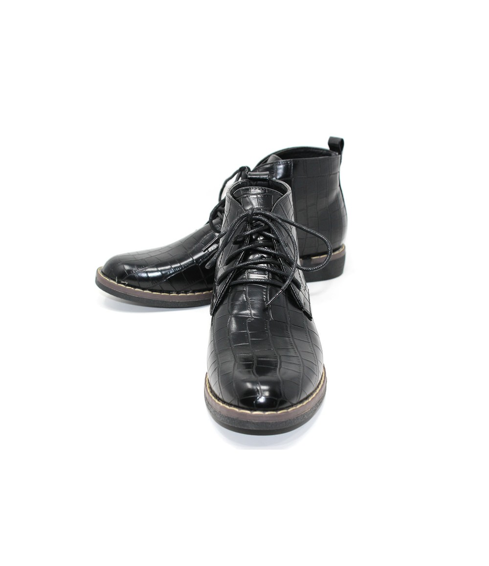 Croc Print Desert Boot in Black