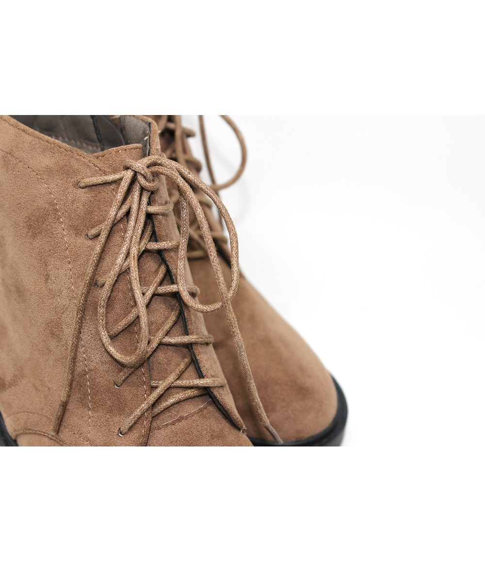 Shoe Lounge Faux Suede Lace Up Boot in Khaki