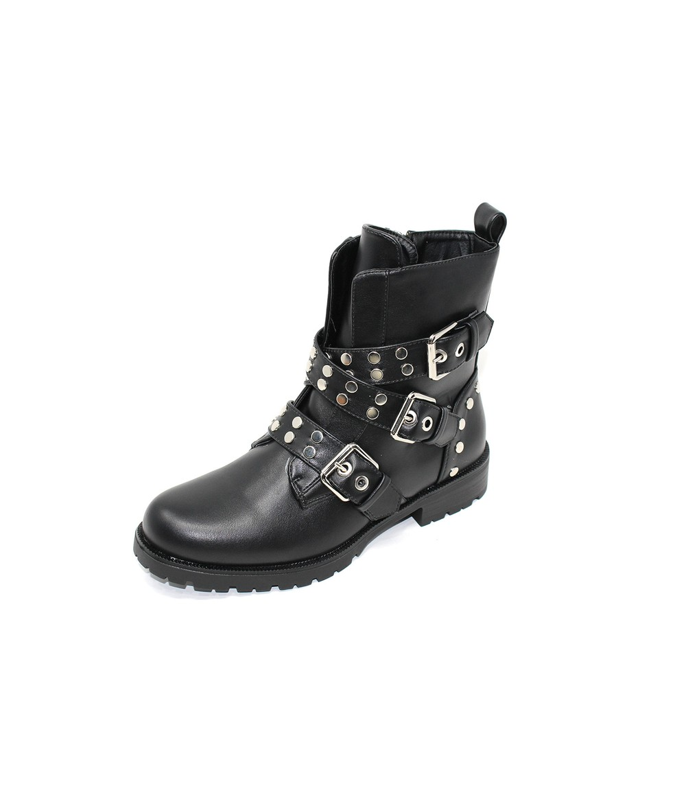 Shoe Lounge Chunky Studded Boot With Strap Detail In Black