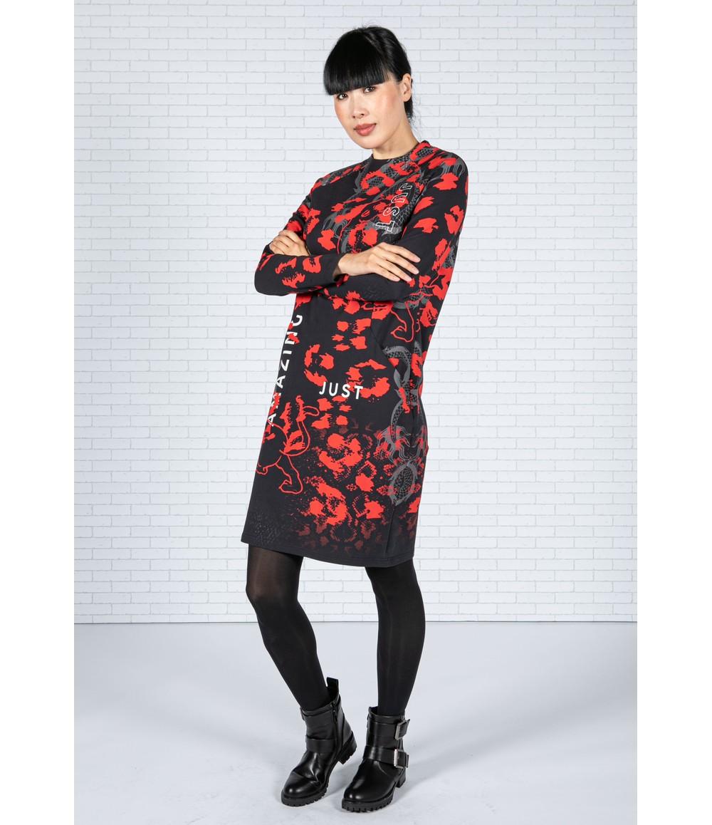 Tuzzi Long Sleeve Print Dress in Black & Red