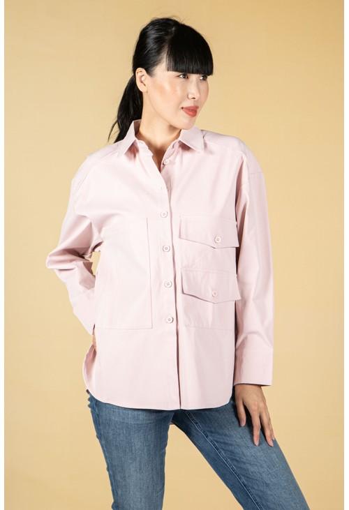 Pamela Scott Utility style button shirt in pale pink