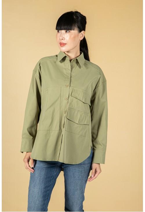 Pamela Scott Utility style button shirt in khaki