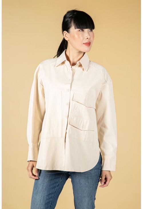 Pamela Scott utility style button shirt in cream