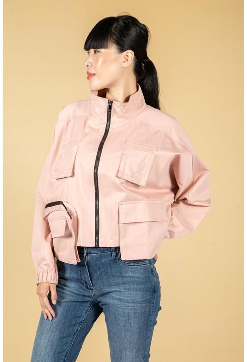 Pamela Scott Utility zipped jacket in dusty pink