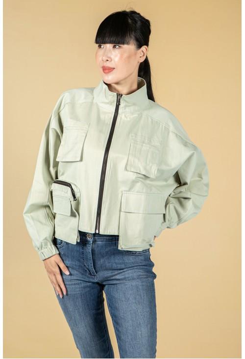 Pamela Scott Utility zipped jacket in sage