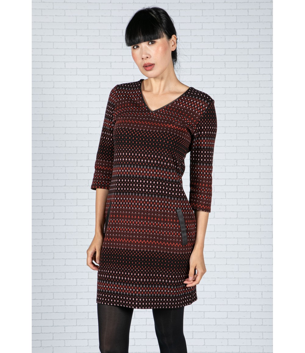 Zapara Embroidered Print Dress in Black & Rust