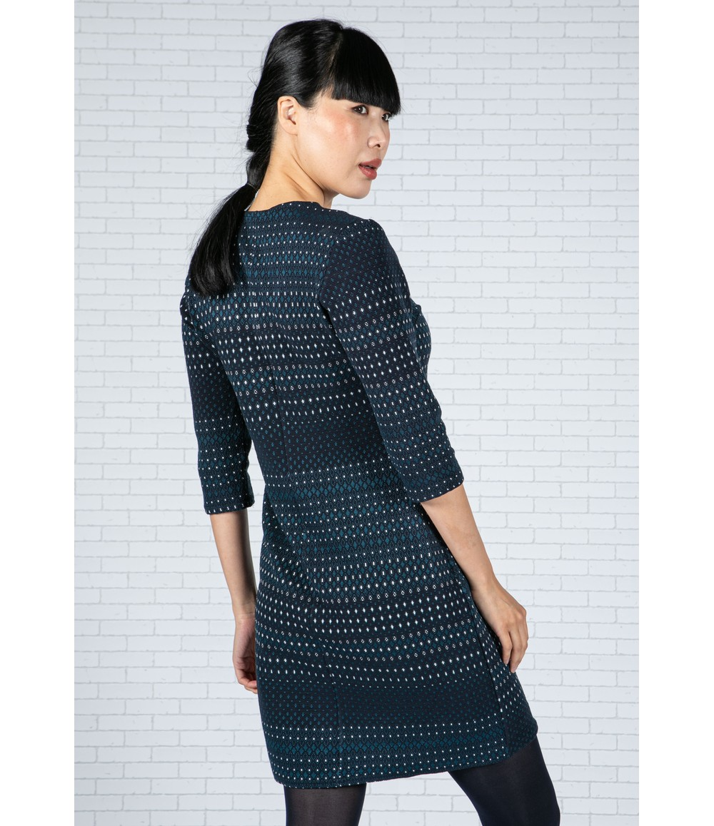 Zapara Embroidered Print Dress in Navy & Teal
