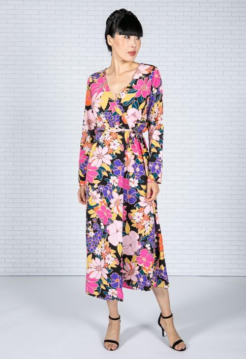 Pamela Scott Floral Pop Wrap Dress