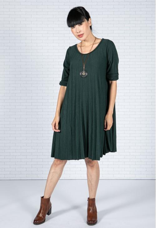 Emporium Pleated Knit Dress in Bottle Green