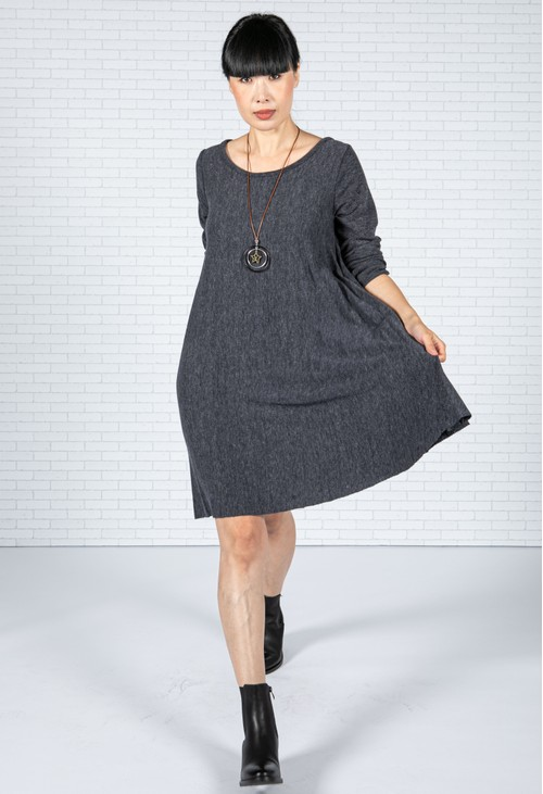 Emporium Pleated Knit Dress in Peppered Navy