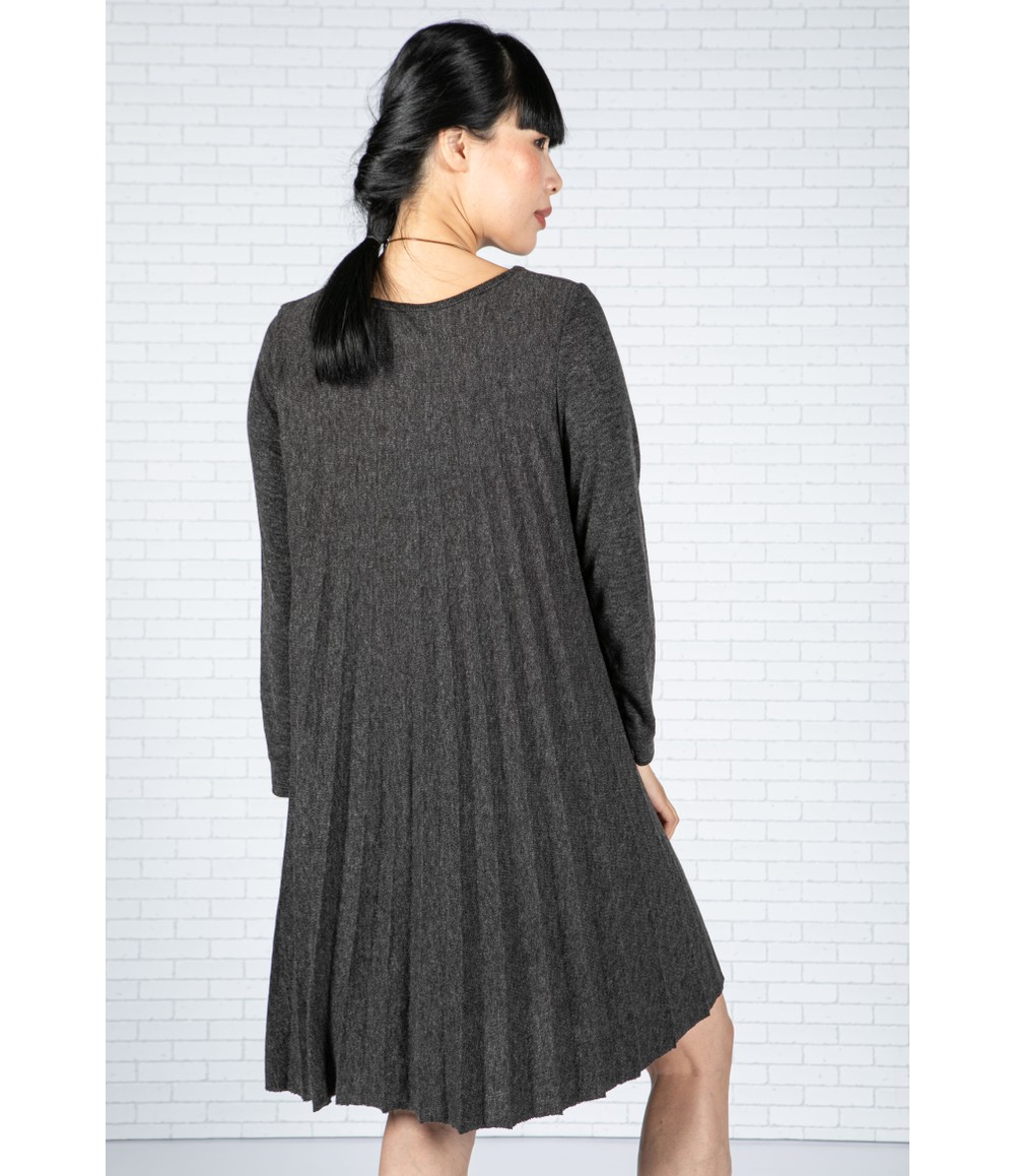 Emporium Pleated Knit Dress in Charcoal