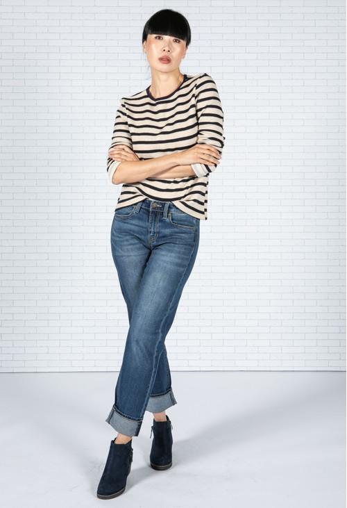 Sophie B Oat and Navy Stripe Top