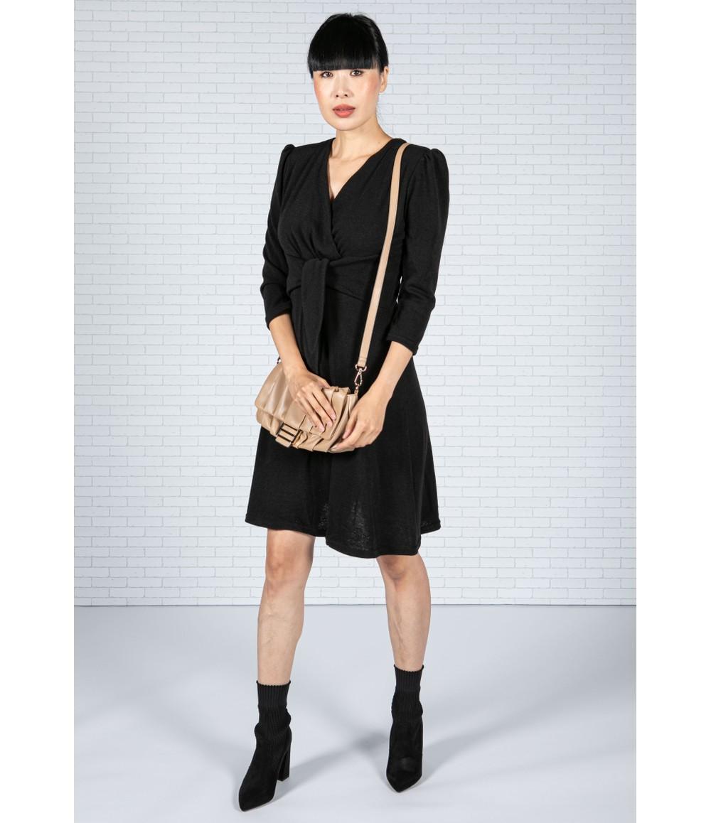 Zapara Knot Detail Black Knit Dress