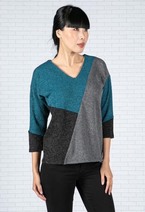 Sophie B Teal Colour Block Knit Top