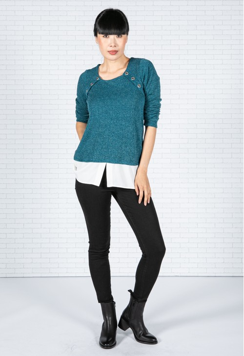 Sophie B Teal Knit Top with Under Shirt Detail