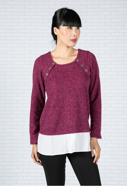 Sophie B Rose Wine Knit Top with Under Shirt Detail