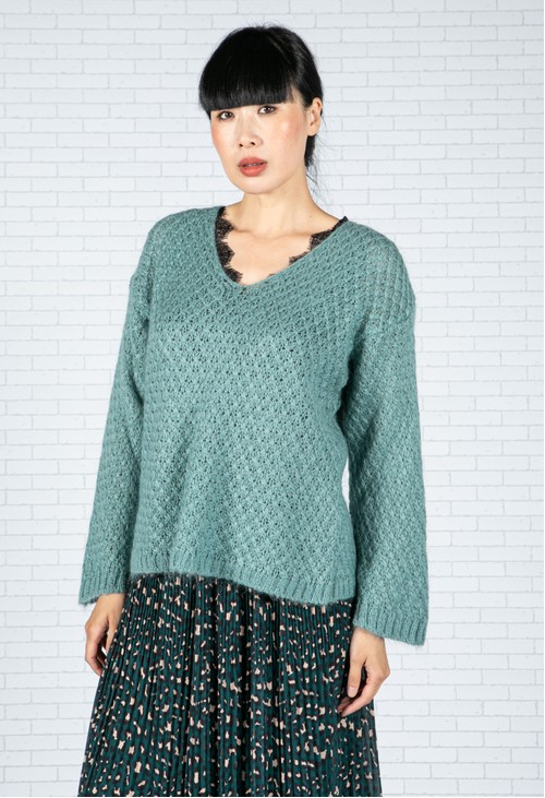 Emporium Relaxed Fit Pullover Knit in Mint